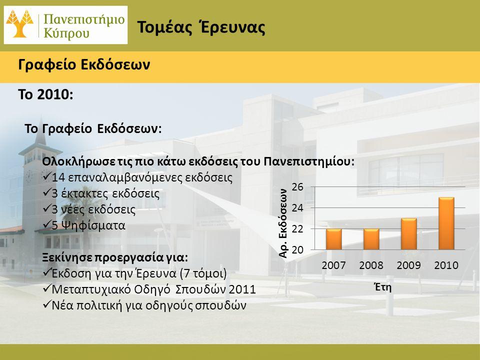 Τομέας Έρευνας Το 2010: Το Γραφείο Εκδόσεων: Ολοκλήρωσε τις πιο κάτω εκδόσεις του Πανεπιστημίου: 14 επαναλαμβανόμενες εκδόσεις 3 έκτακτες εκδόσεις 3 νέες εκδόσεις 5 Ψηφίσματα Ξεκίνησε προεργασία για: Έκδοση για την Έρευνα (7 τόμοι) Μεταπτυχιακό Οδηγό Σπουδών 2011 Νέα πολιτική για οδηγούς σπουδών Γραφείο Εκδόσεων