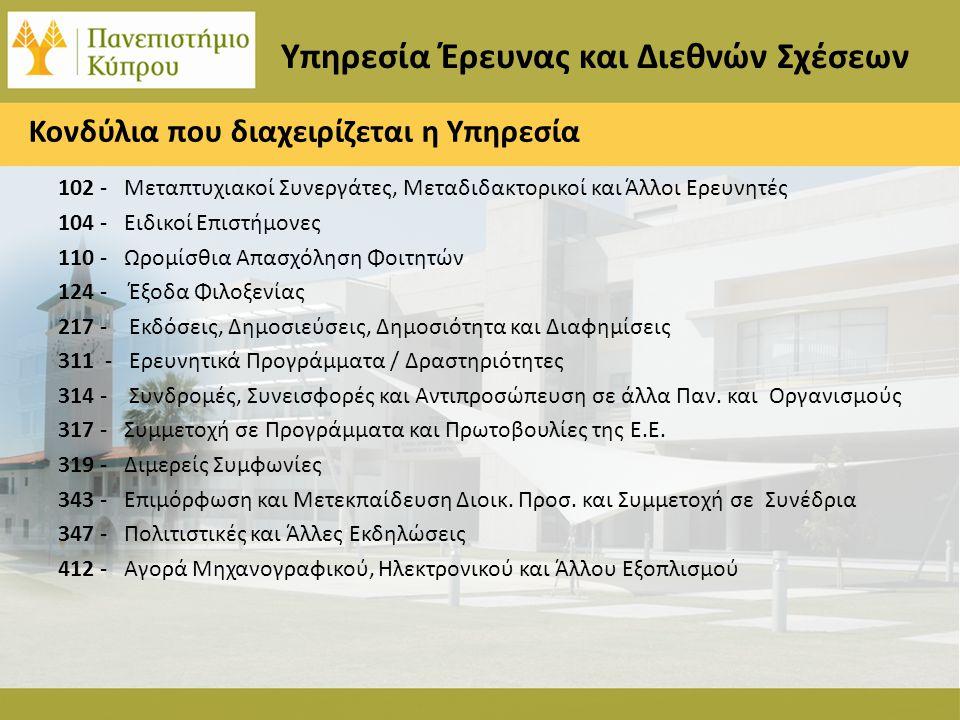 Η συμβολή της ΥΕΔΣ στην Πανεπιστημιακή Κοινότητα 2006-2011 Κατάρτιση Τριετούς Σχεδίου Εσωτερικής Χρηματοδότησης Έρευνας Δεκαπλασιασμός της εξωτερικής χρηματοδότησης της έρευνας Αύξηση του αριθμού των ενημερώσεων σχετικά με προσκλήσεις συνεργασίας στους ακαδημαϊκούς Γνώση των αποτελεσμάτων των προτάσεων για ερευνητικά προγράμματα 6 μήνες πριν την ανακοίνωση Ανάπτυξη σχέσεων με εκπροσώπους της Ευρωπαϊκής Επιτροπής Αναγνώριση της εμπειρογνωμοσύνης της Υπηρεσίας σε διεθνές και ευρωπαϊκό επίπεδο Ανάπτυξη στενών σχέσεων με σημαντικούς φορείς της κυπριακής κοινωνίας Συντονισμός μεγάλων ευρωπαϊκών προγραμμάτων Εξασφάλιση υποστήριξης της προεδρίας ευρωπαϊκών συνδέσμων Συμβολή στην οργάνωση ενός από τα μεγαλύτερη διεθνή συνέδρια καινοτομίας και διασύνδεσης με τη βιομηχανία (East Meets West 2012) Υπηρεσία Έρευνας και Διεθνών Σχέσεων