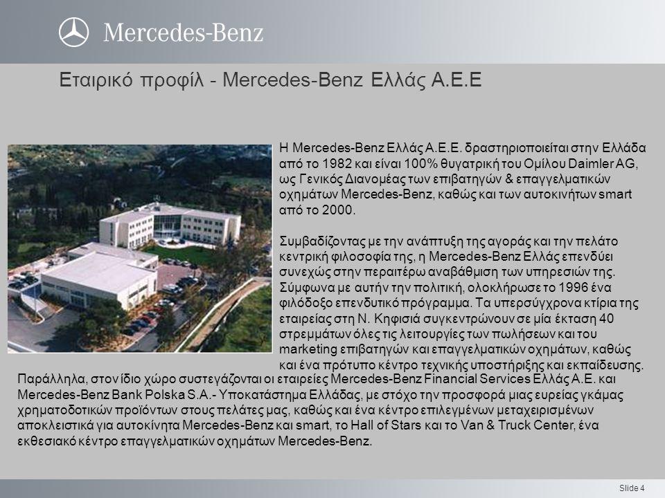 Slide 4 Εταιρικό προφίλ - Mercedes-Benz Ελλάς Α.Ε.Ε Η Mercedes-Benz Ελλάς Α.Ε.Ε. δραστηριοποιείται στην Ελλάδα από το 1982 και είναι 100% θυγατρική το