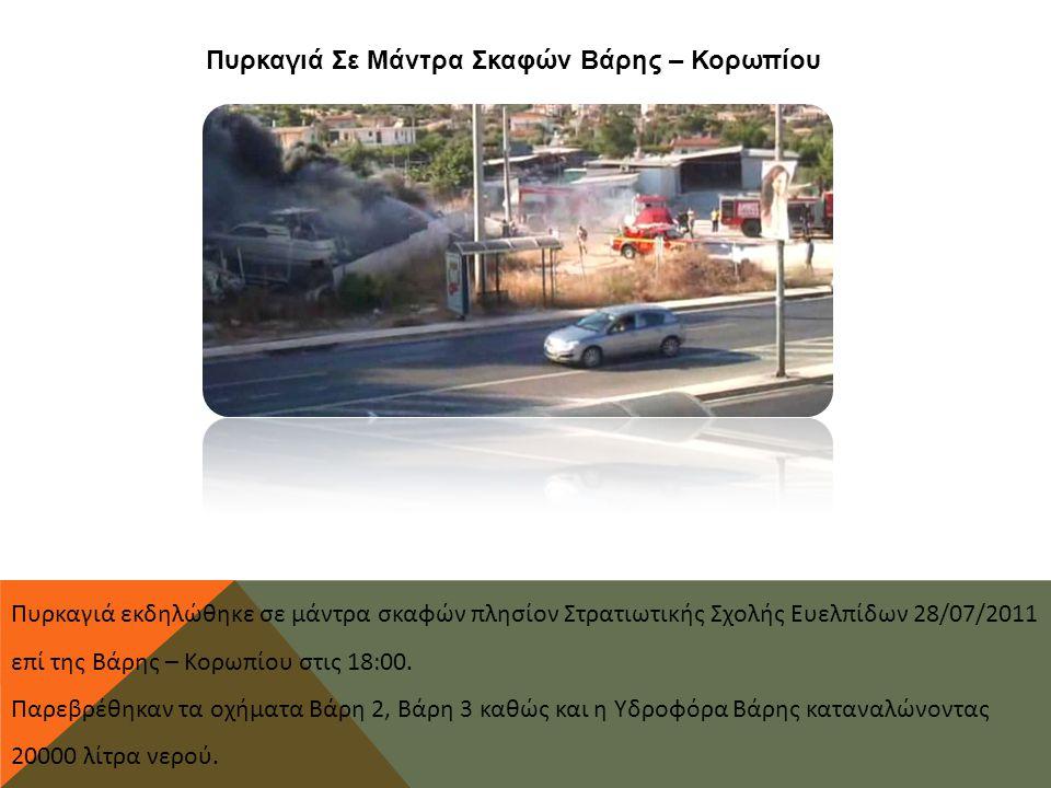 Πυρκαγιά Σε Μάντρα Σκαφών Βάρης – Κορωπίου Πυρκαγιά εκδηλώθηκε σε μάντρα σκαφών πλησίον Στρατιωτικής Σχολής Ευελπίδων 28/07/2011 επί της Βάρης – Κορωπίου στις 18:00.
