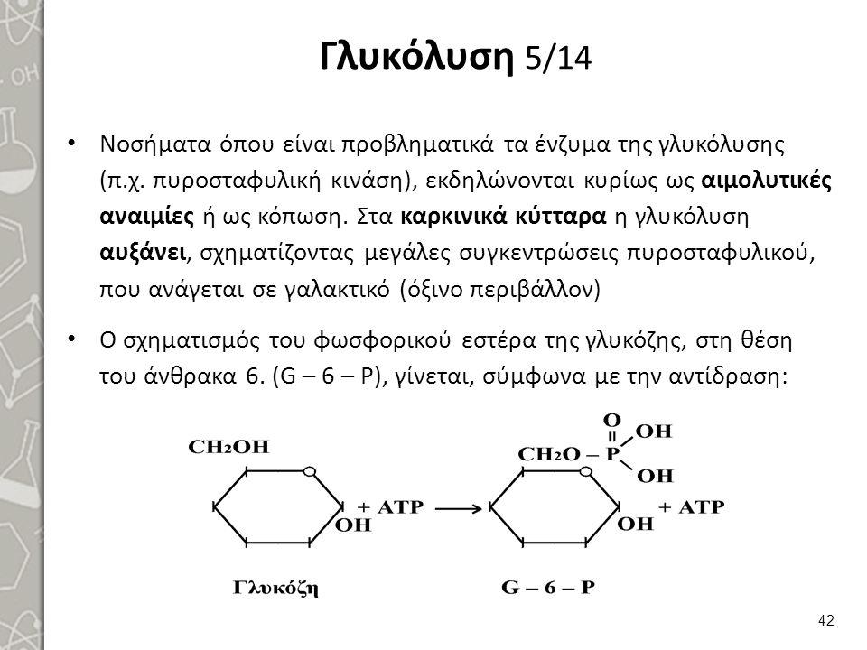 Γλυκόλυση 5/14 Νοσήματα όπου είναι προβληματικά τα ένζυμα της γλυκόλυσης (π.χ.