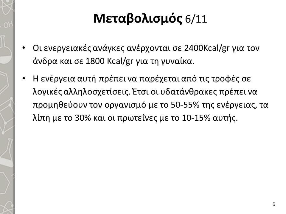 Μεταβολισμός 6/11 Oι ενεργειακές ανάγκες ανέρχονται σε 2400Kcal/gr για τον άνδρα και σε 1800 Kcal/gr για τη γυναίκα.