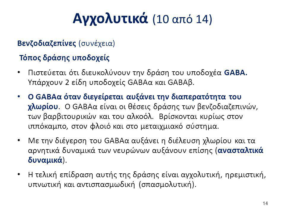 Αγχολυτικά (10 από 14) Βενζοδιαζεπίνες (συνέχεια) Τόπος δράσης υποδοχείς Πιστεύεται ότι διευκολύνουν την δράση του υποδοχέα GABA. Υπάρχουν 2 είδη υποδ