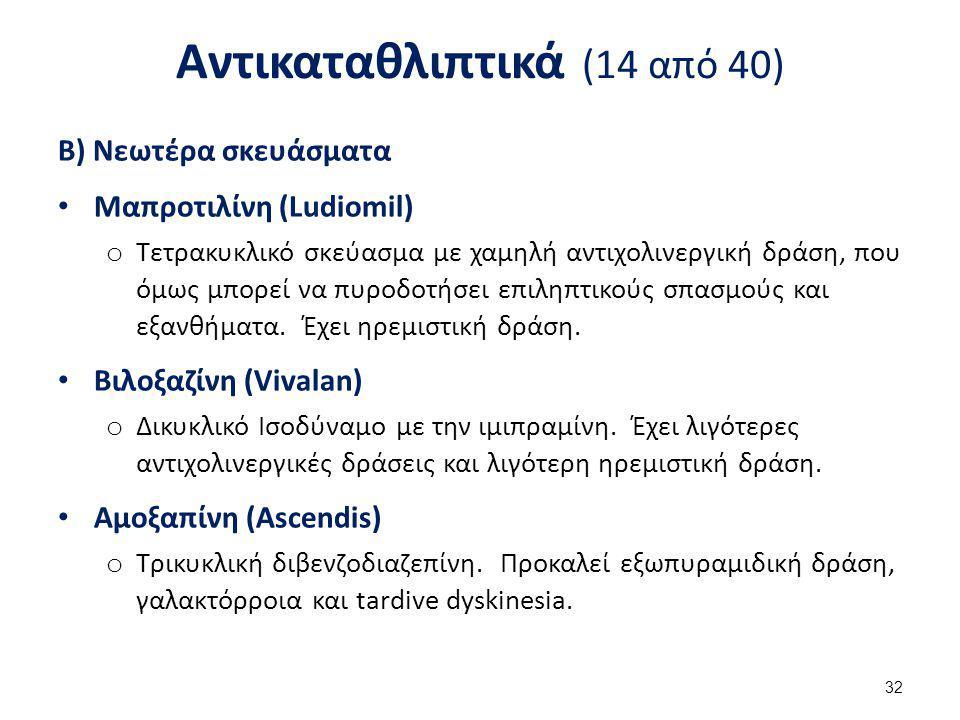 Αντικαταθλιπτικά (14 από 40) Β) Νεωτέρα σκευάσματα Μαπροτιλίνη (Ludiomil) o Τετρακυκλικό σκεύασμα με χαμηλή αντιχολινεργική δράση, που όμως μπορεί να