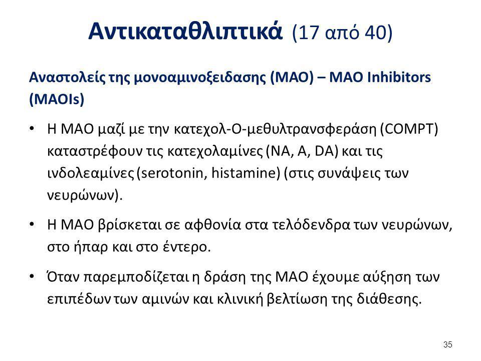 Αντικαταθλιπτικά (17 από 40) Αναστολείς της μονοαμινοξειδασης (ΜΑΟ) – MAO Inhibitors (MAOIs) Η ΜΑΟ μαζί με την κατεχολ-Ο-μεθυλτρανσφεράση (COMPT) κατα