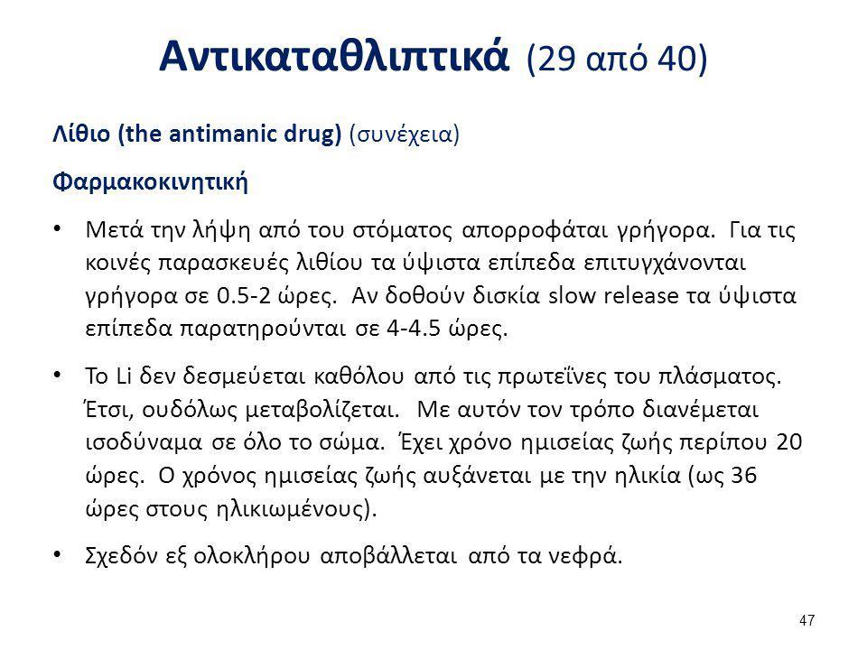 Αντικαταθλιπτικά (29 από 40) Λίθιο (the antimanic drug) (συνέχεια) Φαρμακοκινητική Μετά την λήψη από του στόματος απορροφάται γρήγορα. Για τις κοινές