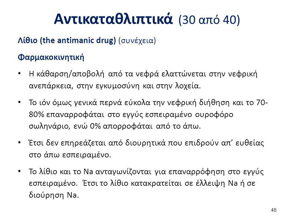 Αντικαταθλιπτικά (30 από 40) Λίθιο (the antimanic drug) (συνέχεια) Φαρμακοκινητική Η κάθαρση/αποβολή από τα νεφρά ελαττώνεται στην νεφρική ανεπάρκεια,