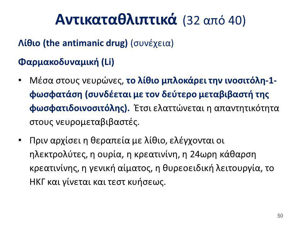 Αντικαταθλιπτικά (32 από 40) Λίθιο (the antimanic drug) (συνέχεια) Φαρμακοδυναμική (Li) Μέσα στους νευρώνες, το λίθιο μπλοκάρει την ινοσιτόλη-1- φωσφα