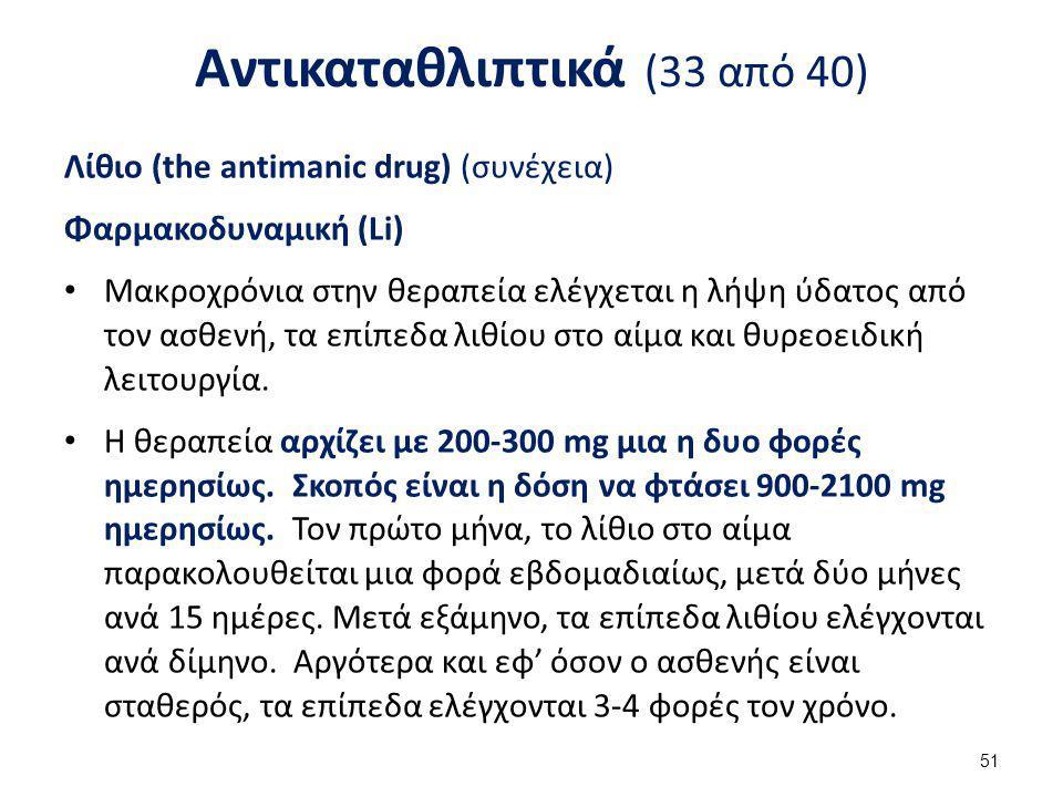Αντικαταθλιπτικά (33 από 40) Λίθιο (the antimanic drug) (συνέχεια) Φαρμακοδυναμική (Li) Μακροχρόνια στην θεραπεία ελέγχεται η λήψη ύδατος από τον ασθε