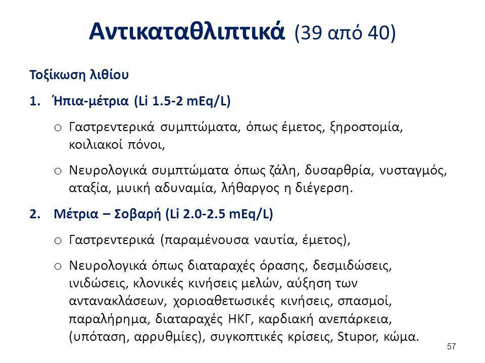Αντικαταθλιπτικά (39 από 40) Τοξίκωση λιθίου 1.Ήπια-μέτρια (Li 1.5-2 mEq/L) o Γαστρεντερικά συμπτώματα, όπως έμετος, ξηροστομία, κοιλιακοί πόνοι, o Νε