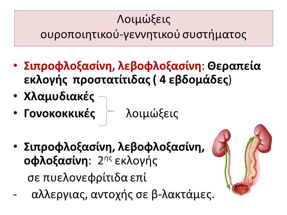 Λοιμώξεις ουροποιητικού-γεννητικού συστήματος Σιπροφλοξασίνη, λεβοφλοξασίνη: Θεραπεία εκλογής προστατίτιδας ( 4 εβδομάδες) Χλαμυδιακές Γονοκοκκικές λο