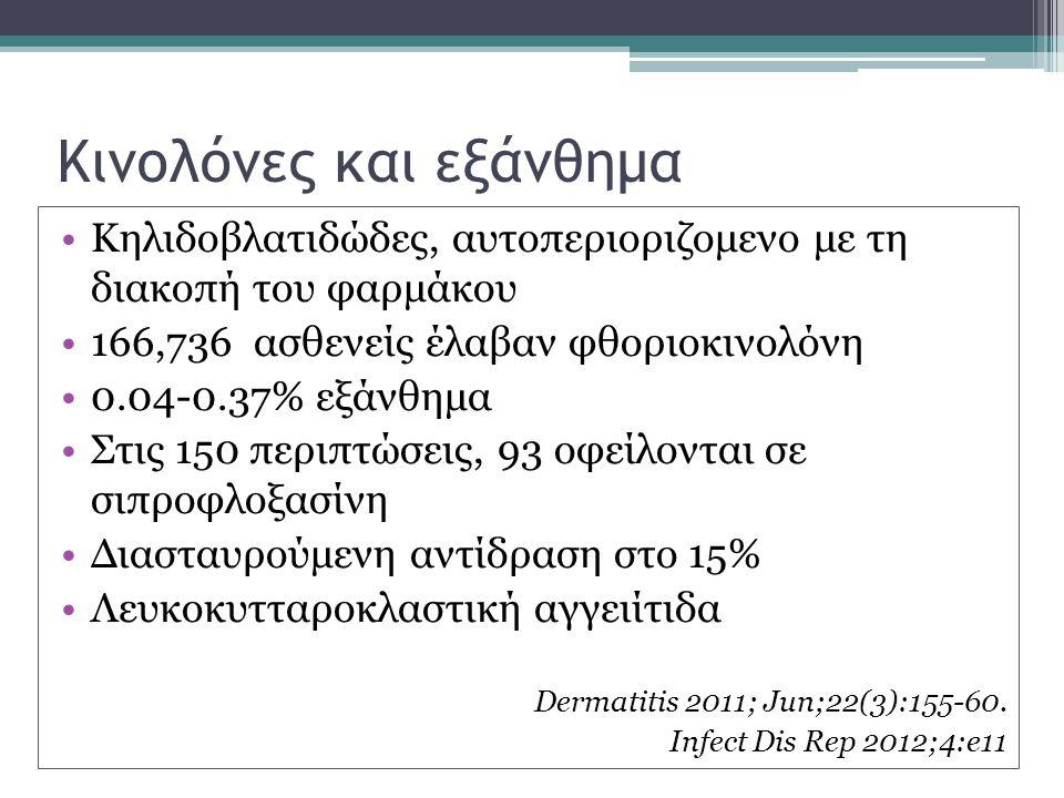 Κινολόνες και εξάνθημα Κηλιδοβλατιδώδες, αυτοπεριοριζομενο με τη διακοπή του φαρμάκου 166,736 ασθενείς έλαβαν φθοριοκινολόνη 0.04-0.37% εξάνθημα Στις