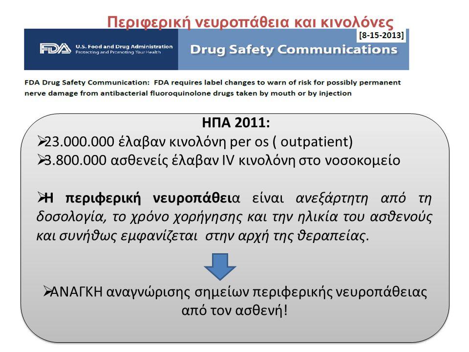 ΗΠΑ 2011:  23.000.000 έλαβαν κινολόνη per os ( outpatient)  3.800.000 ασθενείς έλαβαν IV κινολόνη στο νοσοκομείο  Η περιφερική νευροπάθεια είναι αν