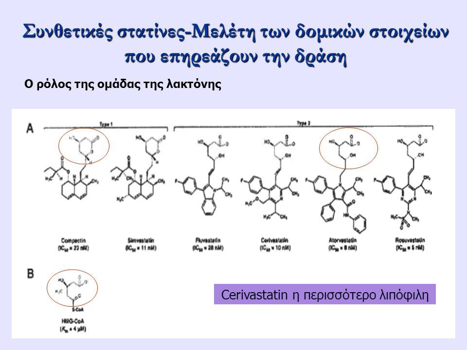 Συνθετικές στατίνες-Μελέτη των δομικών στοιχείων που επηρεάζουν την δράση Ο ρόλος της ομάδας της λακτόνης Cerivastatin η περισσότερο λιπόφιλη