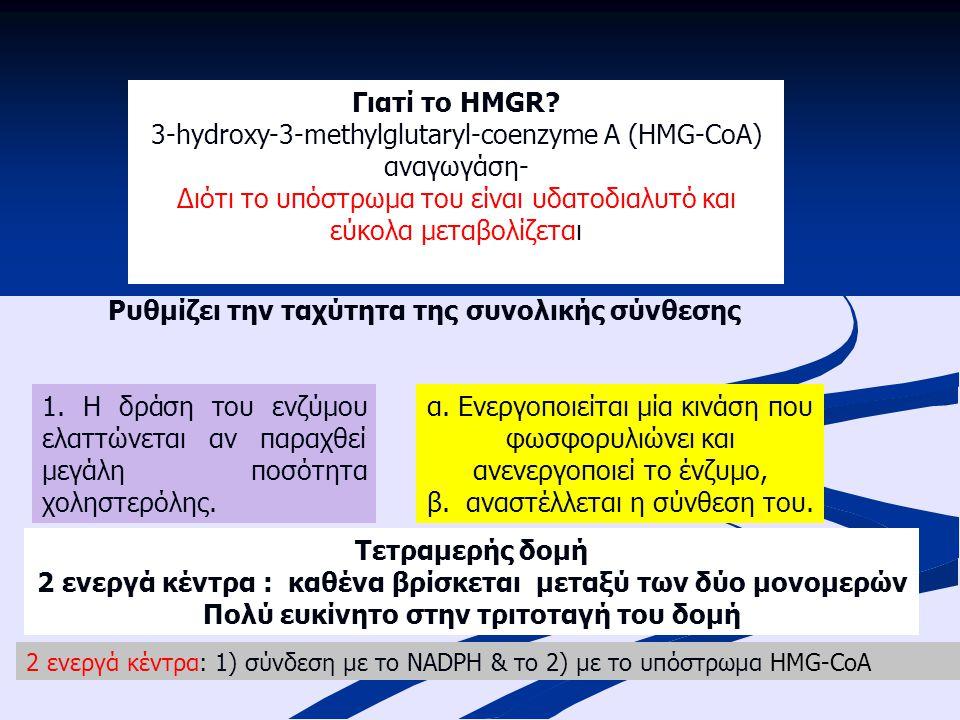 Γιατί το HMGR? 3-hydroxy-3-methylglutaryl-coenzyme A (HMG-CoA) αναγωγάση- Διότι το υπόστρωμα του είναι υδατοδιαλυτό και εύκολα μεταβολίζεται Ρυθμίζει
