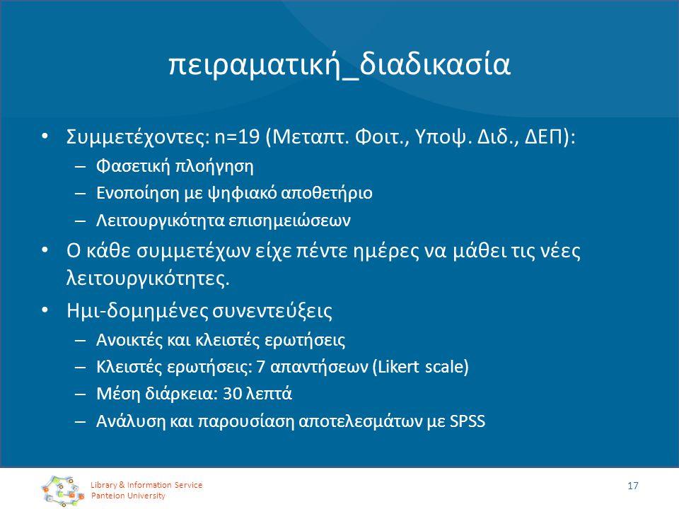 πειραματική_διαδικασία Συμμετέχοντες: n=19 (Μεταπτ. Φοιτ., Υποψ. Διδ., ΔΕΠ): – Φασετική πλοήγηση – Ενοποίηση με ψηφιακό αποθετήριο – Λειτουργικότητα ε