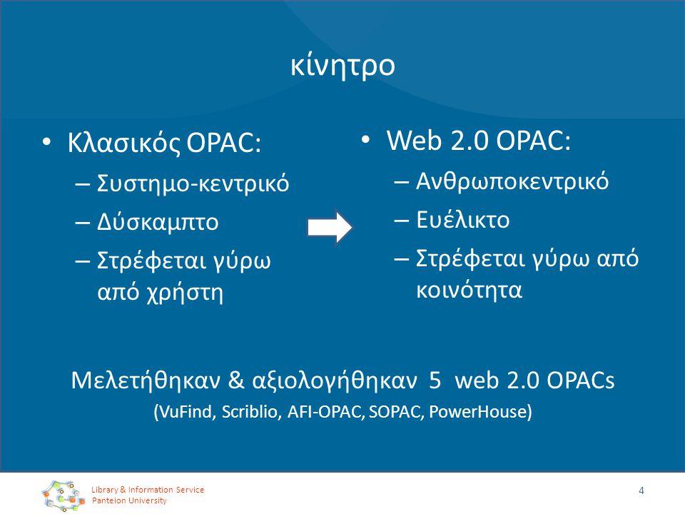 κίνητρο Κλασικός OPAC: – Συστημο-κεντρικό – Δύσκαμπτο – Στρέφεται γύρω από χρήστη 4 Web 2.0 OPAC: – Ανθρωποκεντρικό – Ευέλικτο – Στρέφεται γύρω από κο