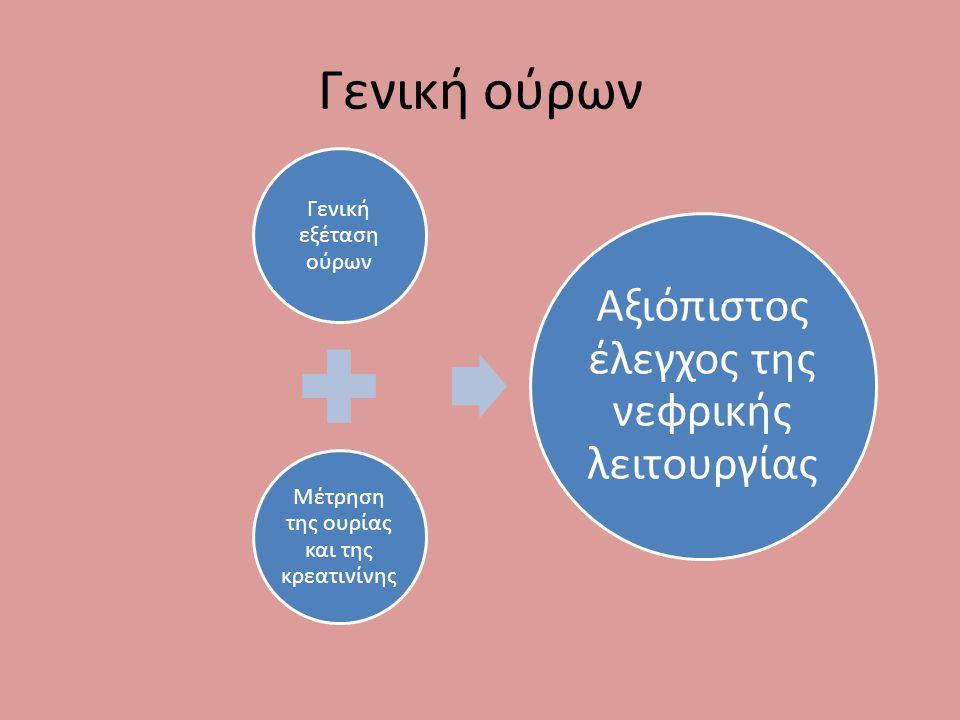 Γενική ούρων Γενική εξέταση ούρων Μέτρηση της ουρίας και της κρεατινίνης Αξιόπιστος έλεγχος της νεφρικής λειτουργίας