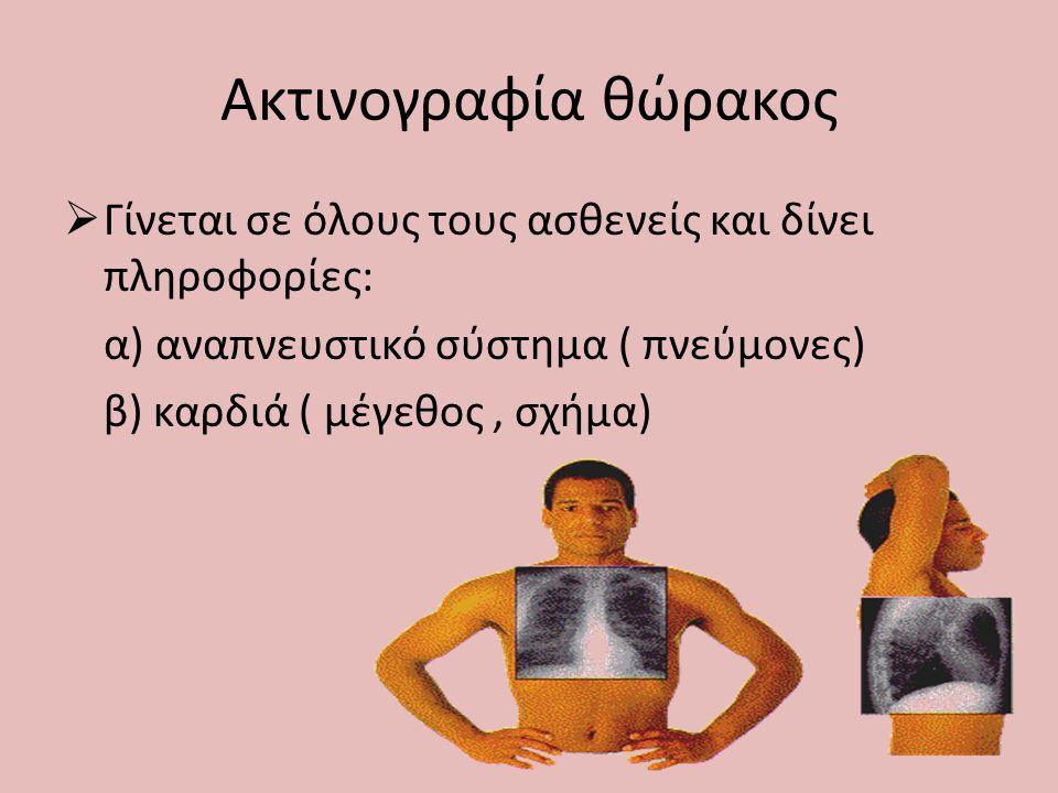 Καρδιογράφημα  Γίνεται σε όλους τους ασθενείς για τους παρακάτω λόγους: α) για τον έλεγχο της καρδιακής λειτουργίας, επειδή τα περισσότερα αναισθησιολογικά φάρμακα δρουν στο μυοκάρδιο β) για τον έλεγχο ασθενών που έχουν προβλήματα καρδιάς