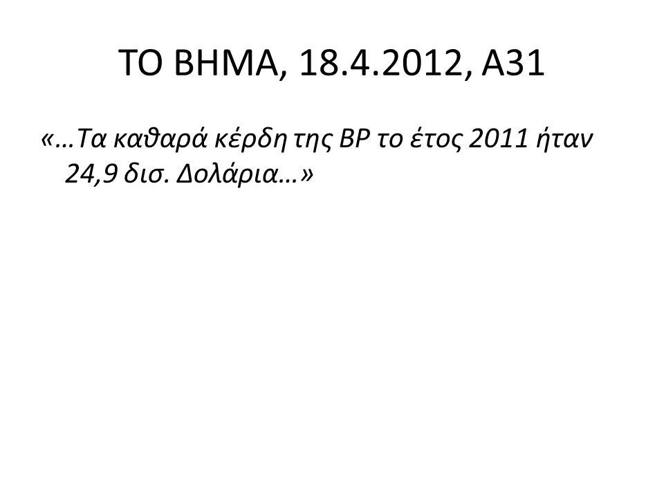 ΤΟ ΒΗΜΑ, 18.4.2012, Α31 «…Τα καθαρά κέρδη της BP το έτος 2011 ήταν 24,9 δισ. Δολάρια…»