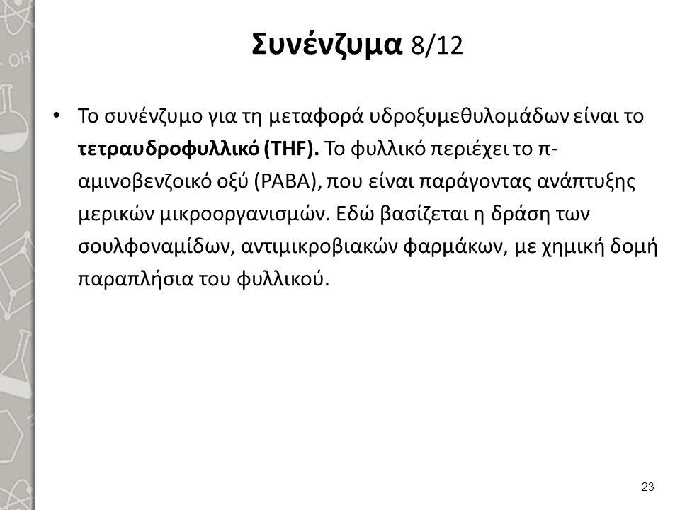 Συνένζυμα 8/12 Το συνένζυμο για τη μεταφορά υδροξυμεθυλομάδων είναι το τετραυδροφυλλικό (THF). Το φυλλικό περιέχει το π- αμινοβενζοικό οξύ (PABA), που