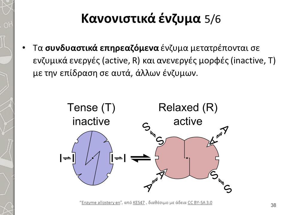 Κανονιστικά ένζυμα 5/6 Τα συνδυαστικά επηρεαζόμενα ένζυμα μετατρέπονται σε ενζυμικά ενεργές (active, R) και ανενεργές μορφές (inactive, T) με την επίδ