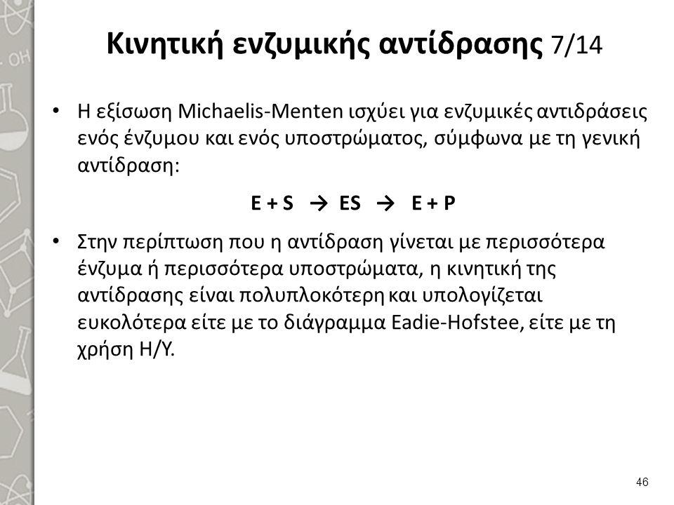 Κινητική ενζυμικής αντίδρασης 7/14 Η εξίσωση Michaelis-Μenten ισχύει για ενζυμικές αντιδράσεις ενός ένζυμου και ενός υποστρώματος, σύμφωνα με τη γενι