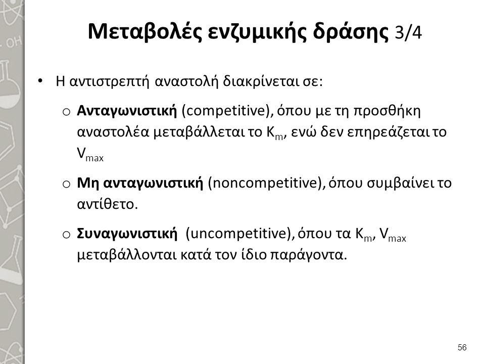 Μεταβολές ενζυμικής δράσης 3/4 Η αντιστρεπτή αναστολή διακρίνεται σε: o Ανταγωνιστική (competitive), όπου με τη προσθήκη αναστολέα μεταβάλλεται το K m