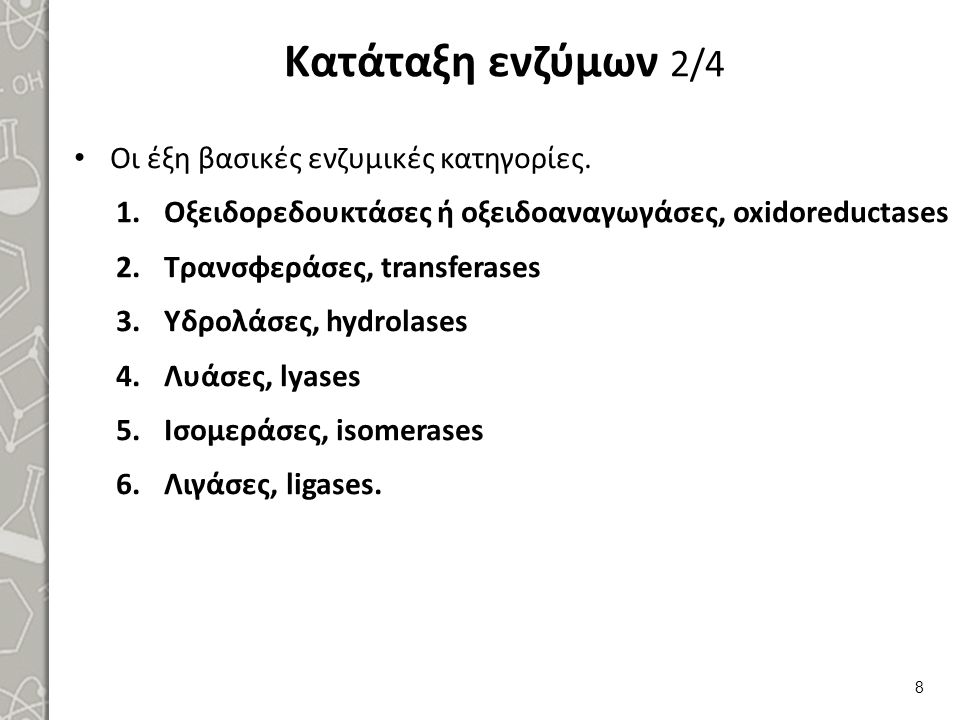 Κατάταξη ενζύμων 2/4 Οι έξη βασικές ενζυμικές κατηγορίες. 1.Οξειδορεδουκτάσες ή οξειδοαναγωγάσες, oxidoreductases 2.Τρανσφεράσες, transferases 3.Υδρολ