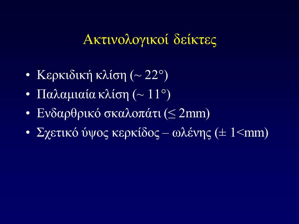 Ακτινολογικοί δείκτες Κερκιδική κλίση (~ 22°) Παλαμιαία κλίση (~ 11°) Ενδαρθρικό σκαλοπάτι (≤ 2mm) Σχετικό ύψος κερκίδος – ωλένης (± 1<mm)