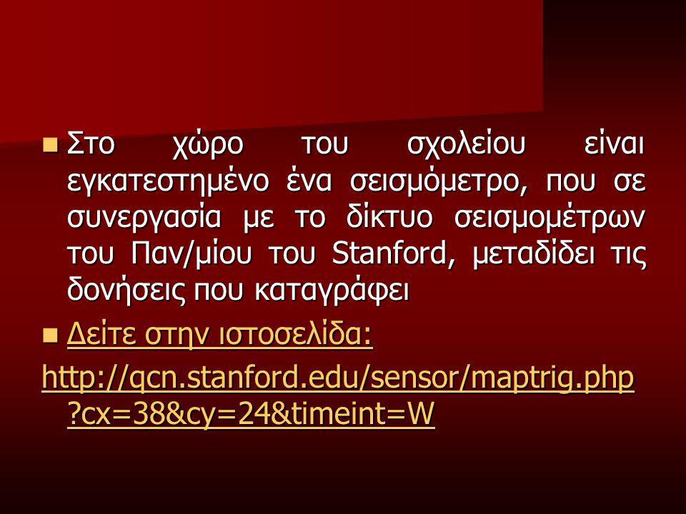 Στο χώρο του σχολείου είναι εγκατεστημένο ένα σεισμόμετρο, που σε συνεργασία με το δίκτυο σεισμομέτρων του Παν/μίου του Stanford, μεταδίδει τις δονήσεις που καταγράφει Στο χώρο του σχολείου είναι εγκατεστημένο ένα σεισμόμετρο, που σε συνεργασία με το δίκτυο σεισμομέτρων του Παν/μίου του Stanford, μεταδίδει τις δονήσεις που καταγράφει Δείτε στην ιστοσελίδα: Δείτε στην ιστοσελίδα: Δείτε στην ιστοσελίδα: Δείτε στην ιστοσελίδα: http://qcn.stanford.edu/sensor/maptrig.php ?cx=38&cy=24&timeint=W http://qcn.stanford.edu/sensor/maptrig.php ?cx=38&cy=24&timeint=W