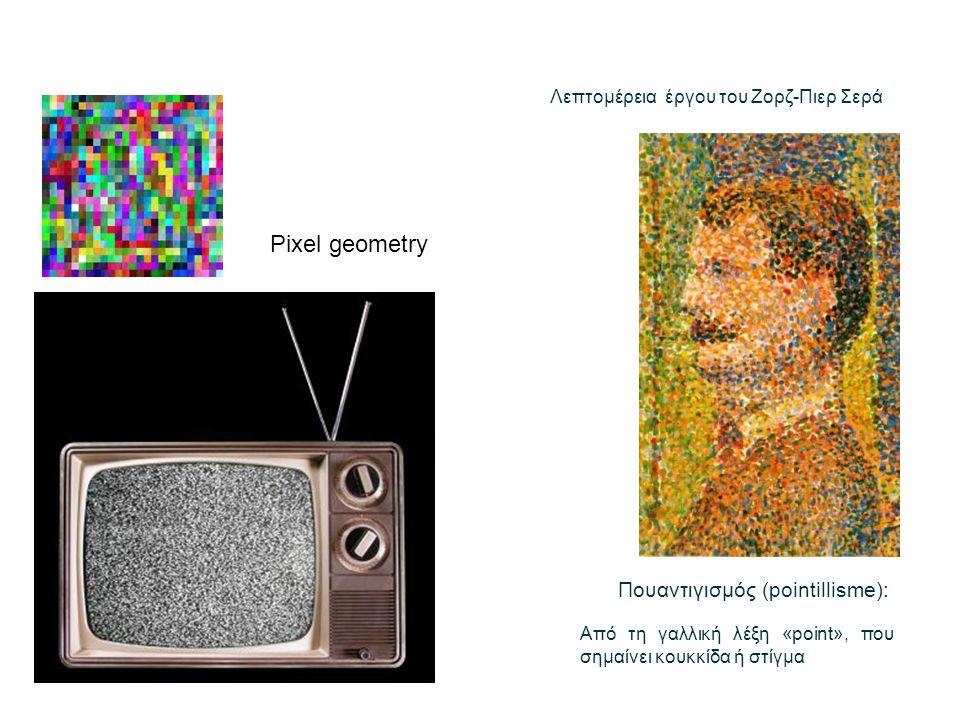 Pixel geometry Πουαντιγισμός (pointillisme): Από τη γαλλική λέξη «point», που σημαίνει κουκκίδα ή στίγμα Λεπτομέρεια έργου του Ζορζ-Πιερ Σερά