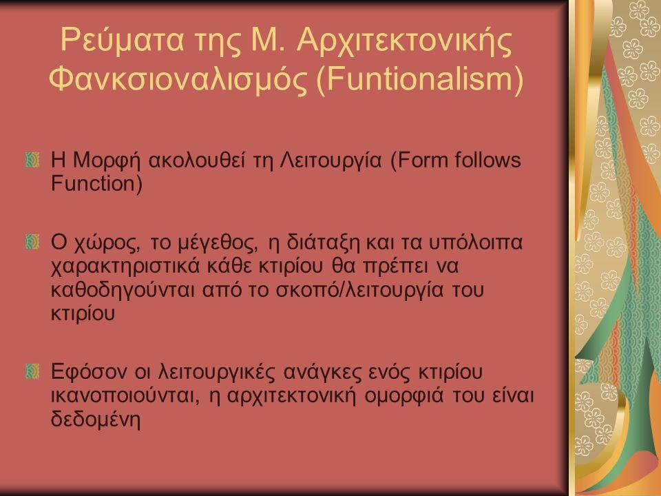 Ρεύματα της Μ. Αρχιτεκτονικής Φανκσιοναλισμός (Funtionalism) Η Μορφή ακολουθεί τη Λειτουργία (Form follows Function) O χώρος, το μέγεθος, η διάταξη κα