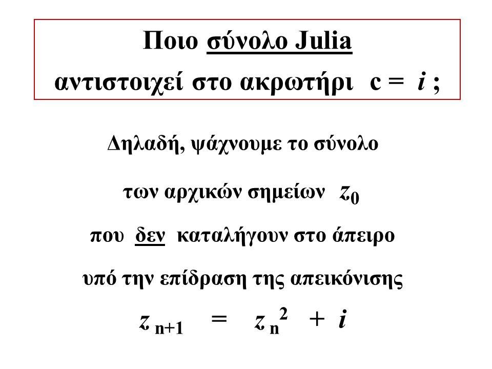Ποιο σύνολο Julia αντιστοιχεί στο ακρωτήρι c = i ; Δηλαδή, ψάχνουμε το σύνολο των αρχικών σημείων z 0 που δεν καταλήγουν στο άπειρο υπό την επίδραση της απεικόνισης z n+1 = z n 2 + i