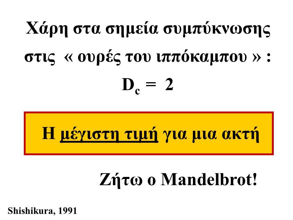 Χάρη στα σημεία συμπύκνωσης στις « ουρές του ιππόκαμπου » : D c = 2 Η μέγιστη τιμή για μια ακτή Ζήτω ο Mandelbrot.