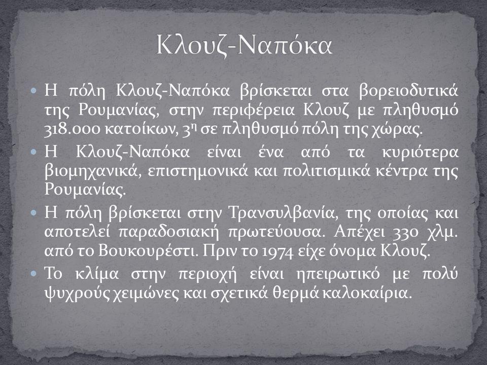 Η πόλη Κλουζ-Ναπόκα βρίσκεται στα βορειοδυτικά της Ρουμανίας, στην περιφέρεια Κλουζ με πληθυσμό 318.000 κατοίκων, 3 η σε πληθυσμό πόλη της χώρας. Η Κλ