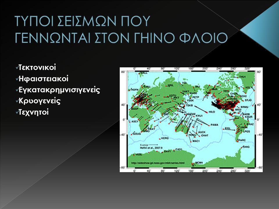 Τεκτονικοί Τεκτονικοί Ηφαιστειακοί Ηφαιστειακοί Εγκατακρημνισιγενείς Εγκατακρημνισιγενείς Κρυογενείς Κρυογενείς Τεχνητοί Τεχνητοί