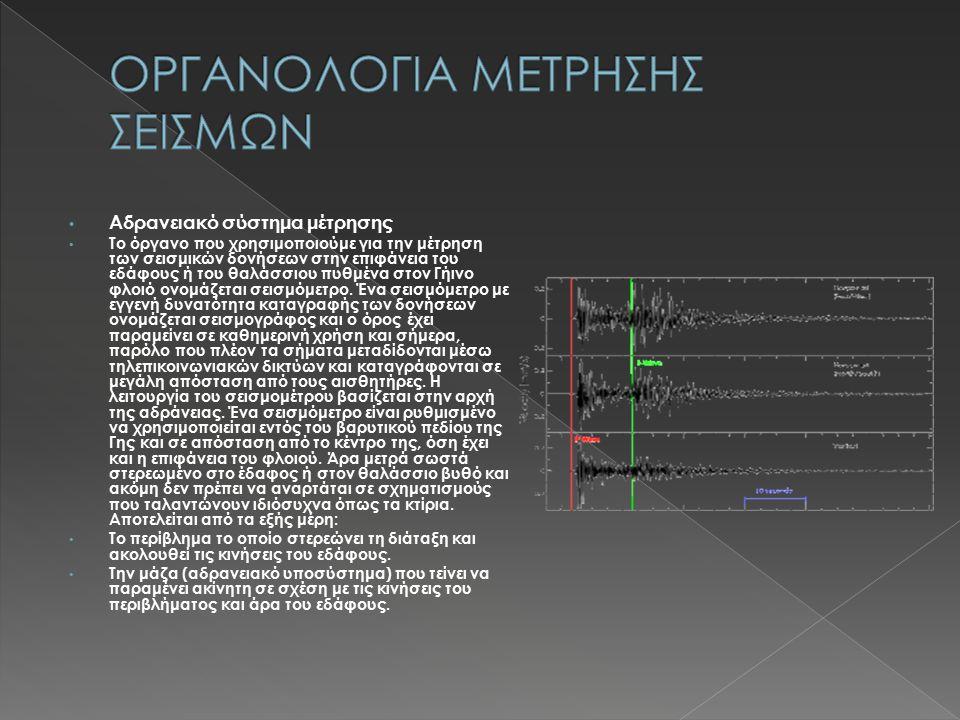 Αδρανειακό σύστημα μέτρησης Το όργανο που χρησιμοποιούμε για την μέτρηση των σεισμικών δονήσεων στην επιφάνεια του εδάφους ή του θαλάσσιου πυθμένα στον Γήινο φλοιό ονομάζεται σεισμόμετρο.