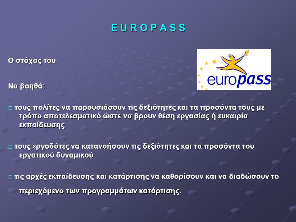 E U R O P A S S Ο στόχος του Να βοηθά: □ τους πολίτες να παρουσιάσουν τις δεξιότητες και τα προσόντα τους με τρόπο αποτελεσματικό ώστε να βρουν θέση ε