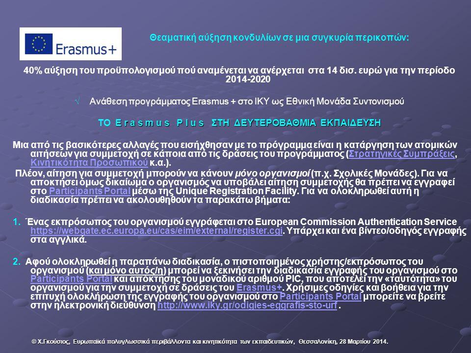 Θεαματική αύξηση κονδυλίων σε μια συγκυρία περικοπών: 40% αύξηση του προϋπολογισμού πού αναμένεται να ανέρχεται στα 14 δισ. ευρώ για την περίοδο 2014-
