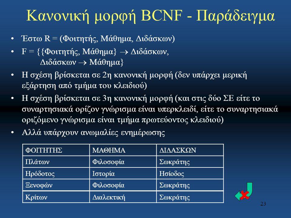 23 Κανονική μορφή BCNF - Παράδειγμα Έστω R = (Φοιτητής, Μάθημα, Διδάσκων) F = {{Φοιτητής, Μάθημα}  Διδάσκων, Διδάσκων  Μάθημα} Η σχέση βρίσκεται σε