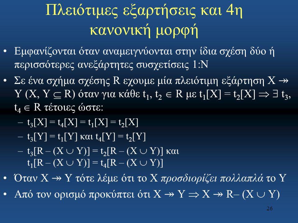 26 Πλειότιμες εξαρτήσεις και 4η κανονική μορφή Εμφανίζονται όταν αναμειγνύονται στην ίδια σχέση δύο ή περισσότερες ανεξάρτητες συσχετίσεις 1:N Σε ένα