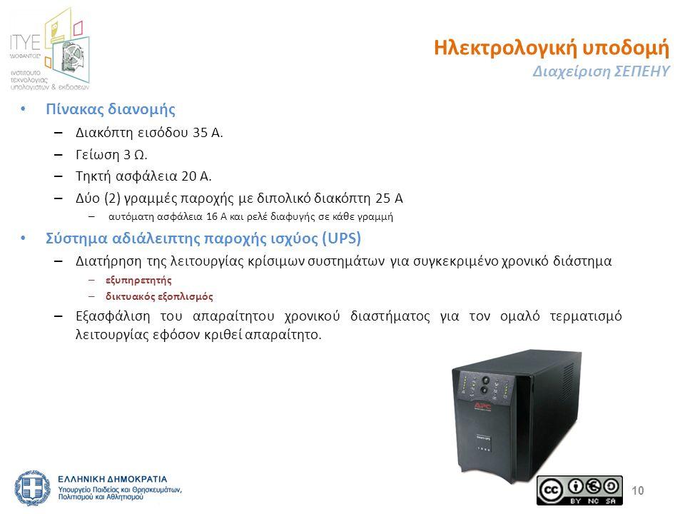 Ηλεκτρολογική υποδομή Διαχείριση ΣΕΠΕΗΥ Πίνακας διανομής – Διακόπτη εισόδου 35 Α. – Γείωση 3 Ω. – Τηκτή ασφάλεια 20 Α. – Δύο (2) γραμμές παροχής με δι