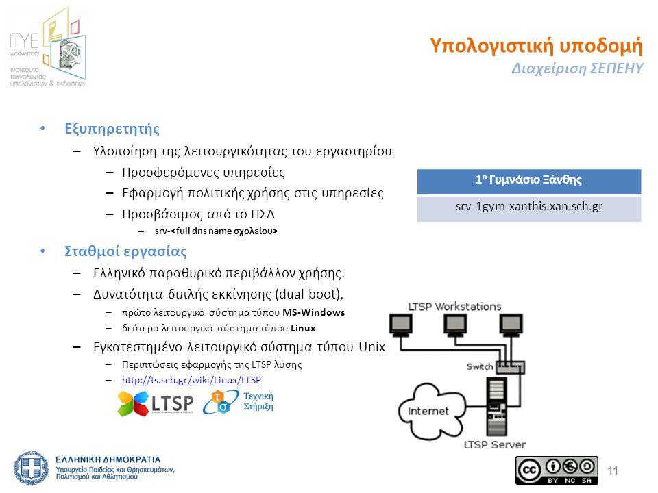 Υπολογιστική υποδομή Διαχείριση ΣΕΠΕΗΥ Εξυπηρετητής – Υλοποίηση της λειτουργικότητας του εργαστηρίου – Προσφερόμενες υπηρεσίες – Εφαρμογή πολιτικής χρ