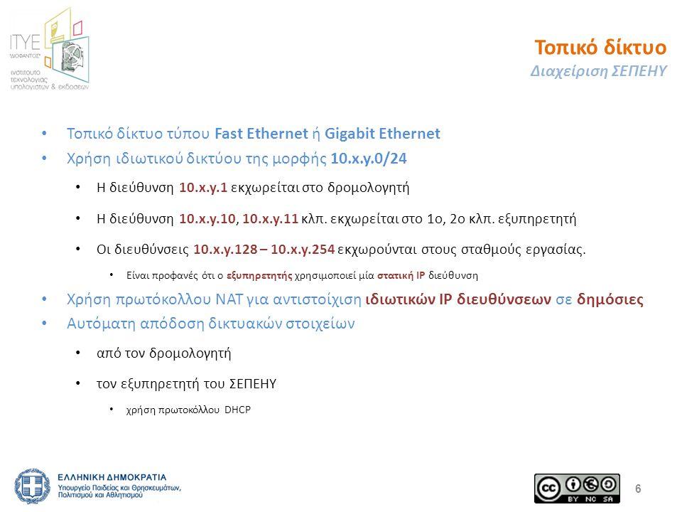 Τοπικό δίκτυο Διαχείριση ΣΕΠΕΗΥ Τοπικό δίκτυο τύπου Fast Ethernet ή Gigabit Ethernet Χρήση ιδιωτικού δικτύου της μορφής 10.x.y.0/24 Η διεύθυνση 10.x.y