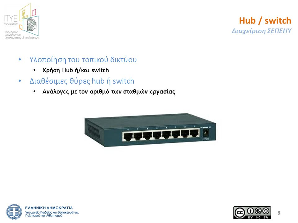 Hub / switch Διαχείριση ΣΕΠΕΗΥ Υλοποίηση του τοπικού δικτύου Χρήση Hub ή/και switch Διαθέσιμες θύρες hub ή switch Ανάλογες με τον αριθμό των σταθμών ε
