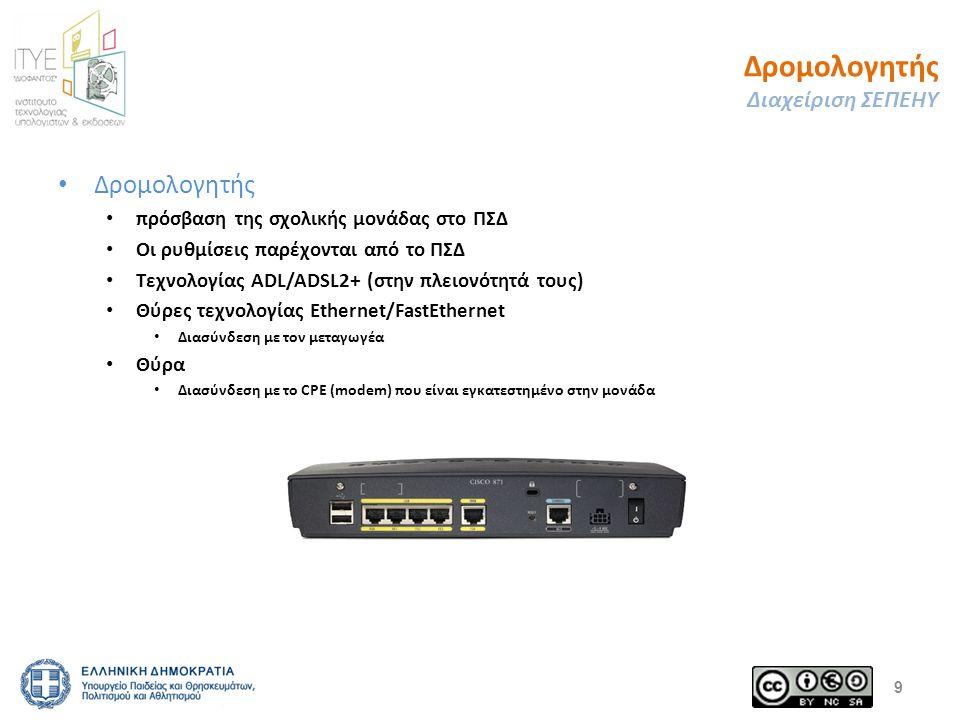 Δρομολογητής Διαχείριση ΣΕΠΕΗΥ Δρομολογητής πρόσβαση της σχολικής μονάδας στο ΠΣΔ Οι ρυθμίσεις παρέχονται από το ΠΣΔ Τεχνολογίας ADL/ADSL2+ (στην πλει