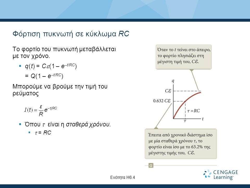 Φόρτιση πυκνωτή σε κύκλωμα RC Το φορτίο του πυκνωτή μεταβάλλεται με τον χρόνο.  q(t) = C  (1 – e –t/RC ) = Q(1 – e –t/RC ) Μπορούμε να βρούμε την τι