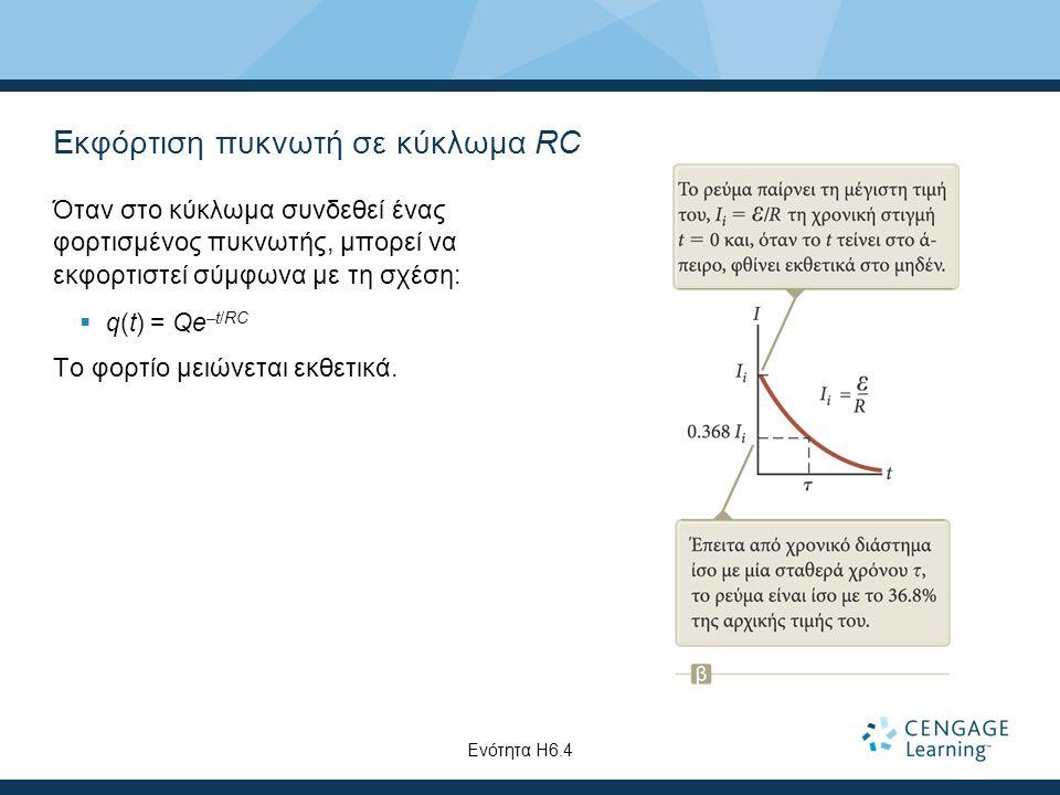 Εκφόρτιση πυκνωτή σε κύκλωμα RC Όταν στο κύκλωμα συνδεθεί ένας φορτισμένος πυκνωτής, μπορεί να εκφορτιστεί σύμφωνα με τη σχέση:  q(t) = Qe –t/RC Το φ