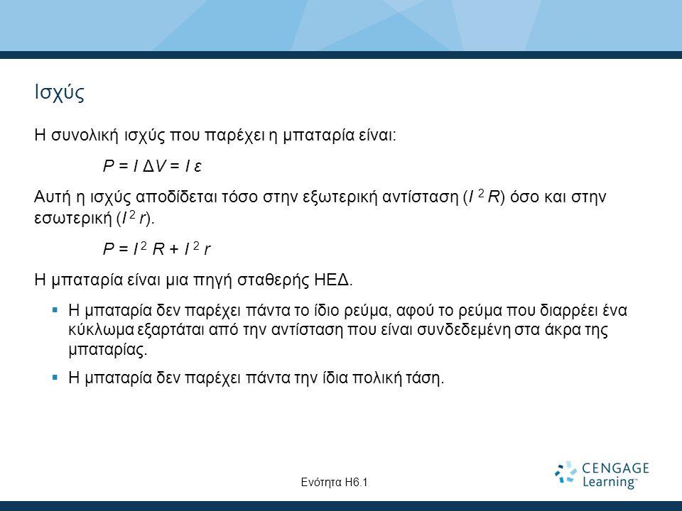 Ισχύς Η συνολική ισχύς που παρέχει η μπαταρία είναι: P = I ΔV = I ε Αυτή η ισχύς αποδίδεται τόσο στην εξωτερική αντίσταση (I 2 R) όσο και στην εσωτερι